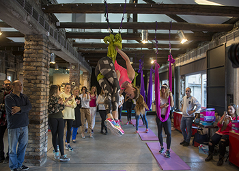 aerial yoga skechers event